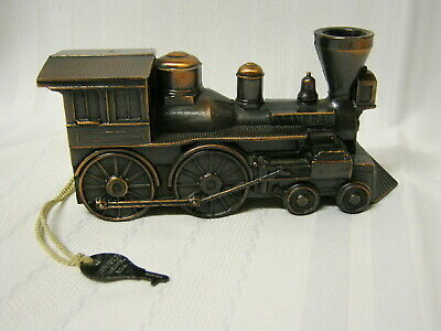 Vintage Banthrico Train Steam Locomotive Copper Tone Cast Metal Bank With Key