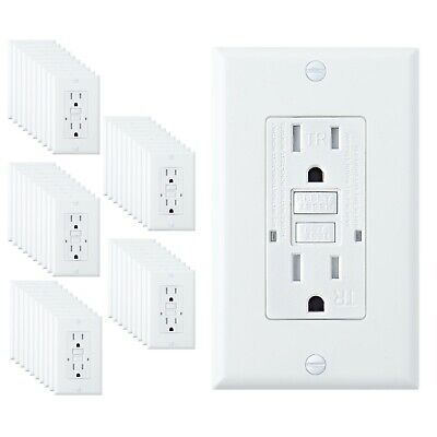 50 PACK 15A Amp GFCI GFI Tamper Resistant Safety Outlet Receptacle w/ LED White