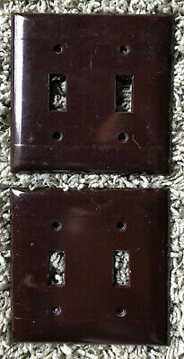 Pair Vintage Smooth Chocolate Bakelite Double Toggle Cover Plate Sierra Electric