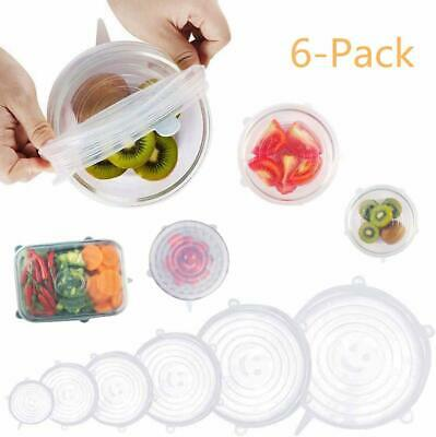 6-Pack SILICONE STRETCH LIDS 6 Size Flexible Food Bowl Cover Fresh Reusable Seal