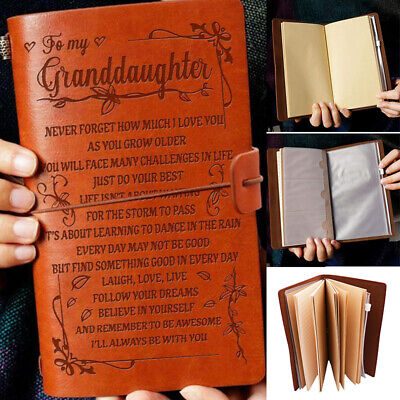 A6 To My Granddaughter Engraved Leather Journal Notebook Travel Diary Kid Gifts