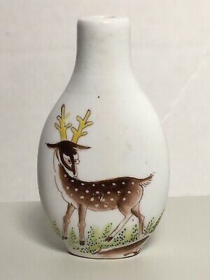 Old Chinese Snuff Bottle Reindeer Among Rocks And  Greenery Porcelain Unmarked