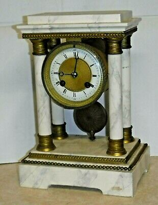 Antique French Portico 8 Day Mantle Chime Clock France A-1 Working Marbleized