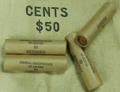 1x Wheat Penny Roll Cent Lincoln Pennies Ends Vary Lot 50C Mixed Dates Denver