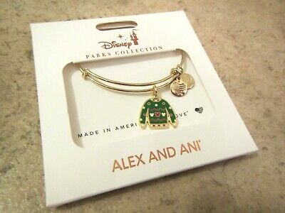 New 2019 Disney Parks Alex And Ani Christmas Sweater Charm Bracelet Bangle Gold