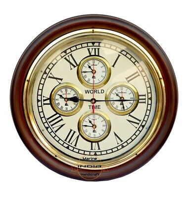 "16"" Vintage Antique Style Brass Wooden Wall Clock World Time Nautical Home Decor"