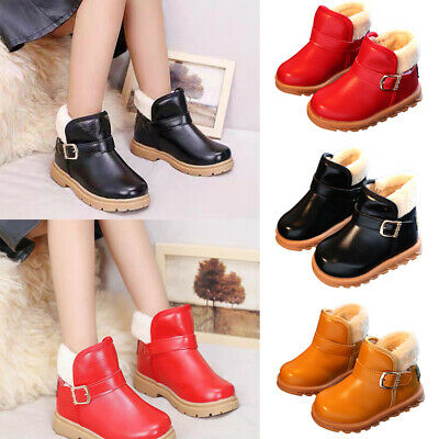 Kids Girls Leather Hook Loop Fur Lined Ankle Boots Winter Warm Comfy Snow Boots
