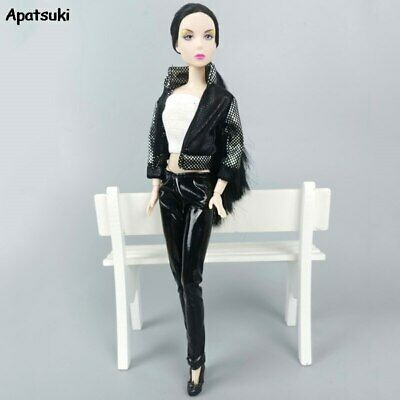 1Set Clothes Outfits For Barbie Doll Black Leather Coat Pants Short Top Clothes