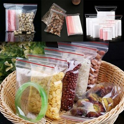 100 Small Clear Plastic Bags Baggy Grip Self Seal Resealable Zip Lock Fa Lizzj