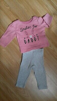 Girls Outfit, Top & leggings outfit, Used Condition, Age 3-6 months
