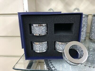 Silver Crushed Crystal Diamond Napkin Holder Bling, Dining Table