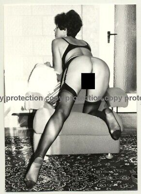 Nude Female On Lounge Chair / Rear View - Legs (Vintage Photo B/W GDR 1980s)