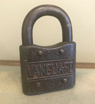 Vintage Metal Antique Vanguard Padlock Lock Obsolete No Key Made In Usa