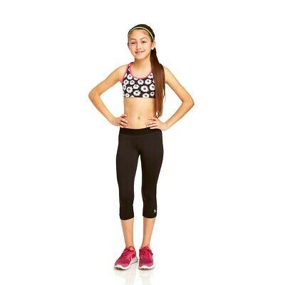 Girls Soffe Dri Black Sports Leggings - capri lingth - size S (age 6/7)