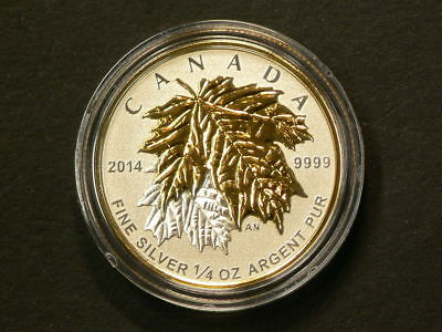 2014 Maple Leaf Gold Plated 1/4 OZ  $3 Silver 99.99% #399