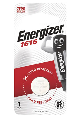 Energizer 1616 - 1 PACK 3V Lithium Coin/Button Cell Batteries  Zero Mercury