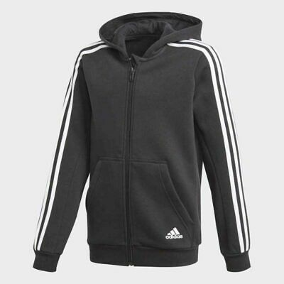 Adidas Essentials Kids Boys Girls 3 Stripes Fleece Hoodie Jacket - Dark Grey
