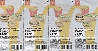 £1.99 McDONALDS 36 VOUCHERS BIG MAC 1/4 POUNDER FILET-O-FISH McCHICKEN 15/12/19