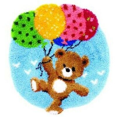 "Latch Hook Rug Kit""Teddy and Balloons""52cm Circular"