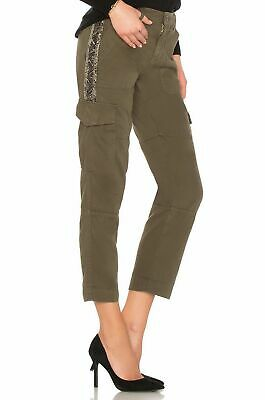 Joie Women's Beaded Seam Cotton Twill Mid-Rise Ankle Crop Stripe Cargo Pants.