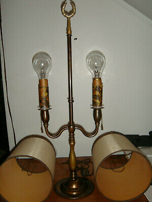 Vtg double brass lamp mid century bouillotte candlestick light w/ Shades finial