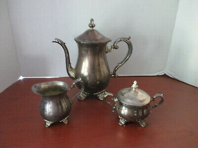 Vintage GORHAM 3 Pc SILVER over BRASS TEA SET~Tea / Coffee Pot, Sugar, Creamer