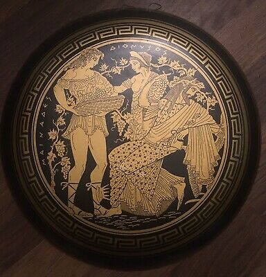 Black And Gold Terracotta Plate Wall Plaque Ancient Greek Greece Mid Century