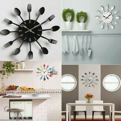 Modern 3D Wall Clock Large Cutlery Fork and Spoon Tableware Wall  Clock Home Dec