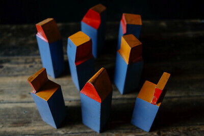 Collection Of Eight Vintage Retro Wooden Engineering Teaching Models Geometric