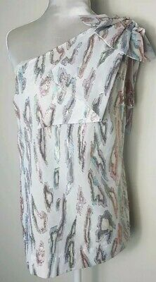 Ladies Top Blouse Size 8 Blue White Pink Next One Shoulder Party Christmas