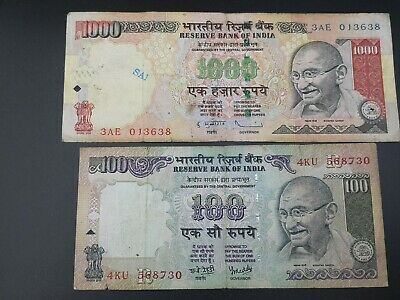 LOT OF 5 CONSECUTIVE 1000 RUPEES GANDHI ISSUE OLD SERIES R.B.I BANK NOTE IN UNC