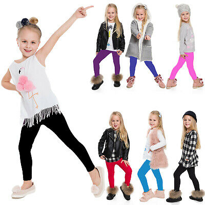 Kids Girls Cotton Leggings Stretch Tight Plain Trousers Skinny Yoga Pants Warm