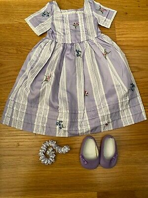 American Girl Doll Felicity Dress, Purple Shoes And Necklace New