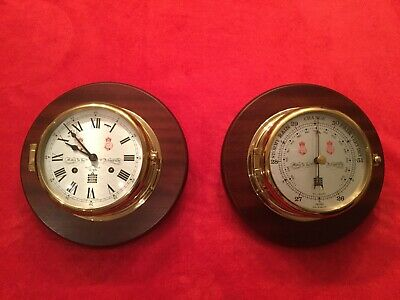 Vintage Sewills Of Liverpool Matching 8 Day Ships Bells Clock & Barometer.