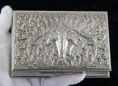 Antique SIAM STERLING SILVER CIGARETTE BOX Erawan Elephant Repousse  300g Thai