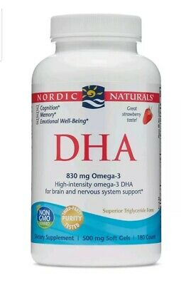 Nordic Naturals DHA - Strawberry 830 mg Omega-3 180 Soft Gels NEW Exp 4/22