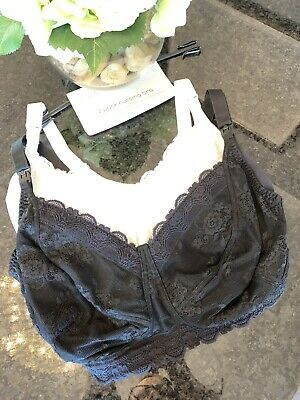 NEW 36B 2x Mothercare Blooming Marvellous Nursing Bra Non Wired Black / White