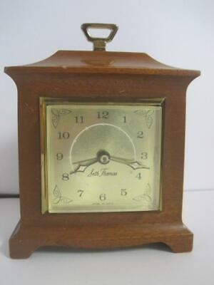 Antique Seth Thomas SS12-P Mantle Electric Wooden Alarm Clock Working Condition
