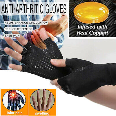 Hand Wrist Copper Compression Arthritis Gloves Fit Carpal Tunnel Brace Support S