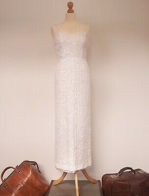 Stunning Art Deco vintage wedding dress lace sequins unusual heart beat pattern