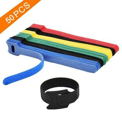 50pcs Fastening Cable Ties Organizer Winder Coded Cords Hook Loop Wraps Reusable