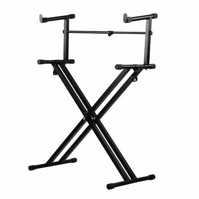 X Type Adjustable Double Braced Music Keyboard Stand Foldable Stool Piano Holder