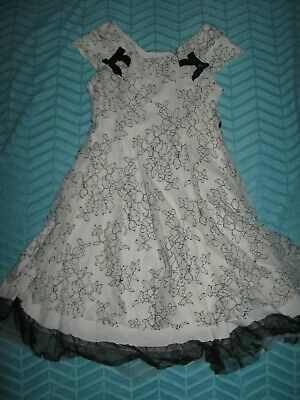George Girls Dress Size 7 Christmas Wedding Dressy Party Holiday Black White