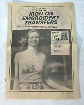 1977 New Idea Embroidery Pattern Iron On Transfers
