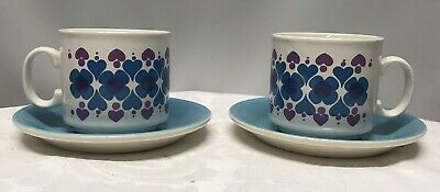 Vintage/Retro Staffordshire Potteries Cups and Saucers - Set of 2 - Great Colour