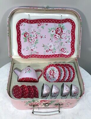 Child's Tin Teaset in Floral Carry Case