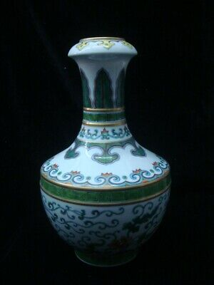"Fine Large Antique Chinese Polychrome Porcelain Vase Marked ""QianLong"""