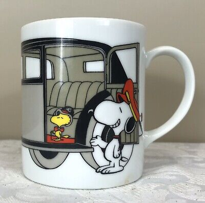 Vintage 1965 Peanuts Coffee Mug - Snoopy and Woodstock in Limousine - 9cm