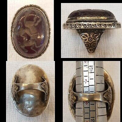 Wonderful Old Silver Huge Ring With Red Agate Stone king Ridding Horse Intagilo