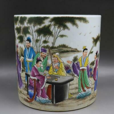 Chinese Old Marked Famille Rose Colored Characters Pattern Porcelain Brush Pot